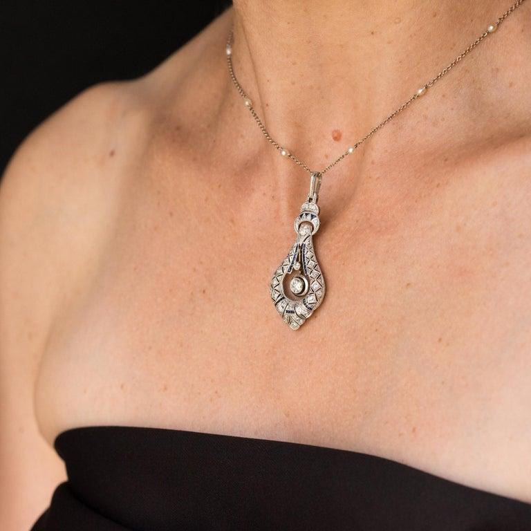 French Art Deco Pearl Sapphire Diamond Platinum Pendant For Sale 3