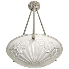 French Art Deco Pendant Chandelier by Degue