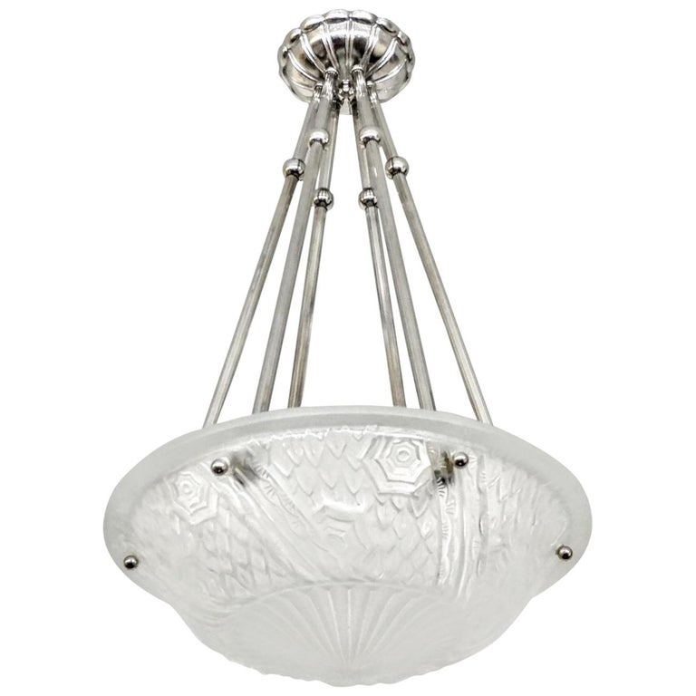 French Art Deco Pendant Chandelier by Schneider For Sale