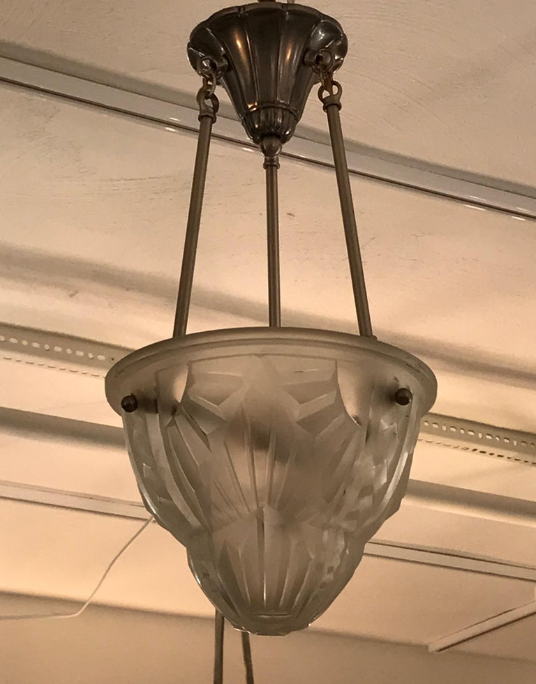 French Art Deco Pendant Chandelier Signed by Degue In Excellent Condition For Sale In North Bergen, NJ