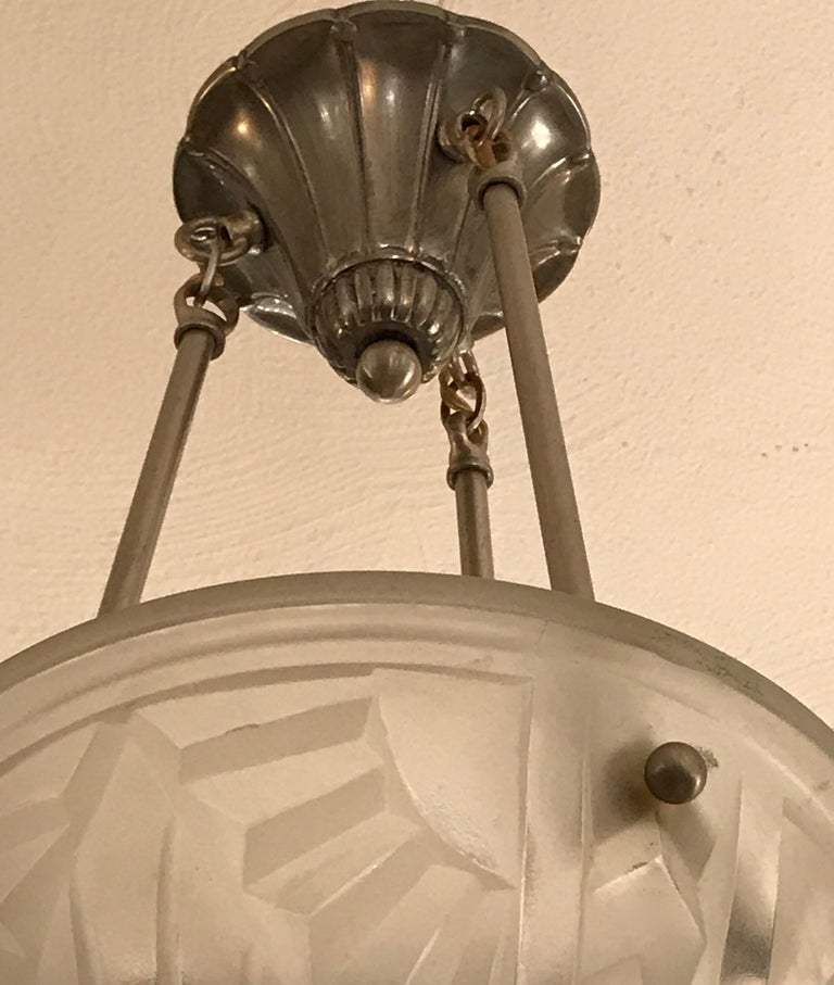 French Art Deco Pendant Chandelier Signed by Degue For Sale 1