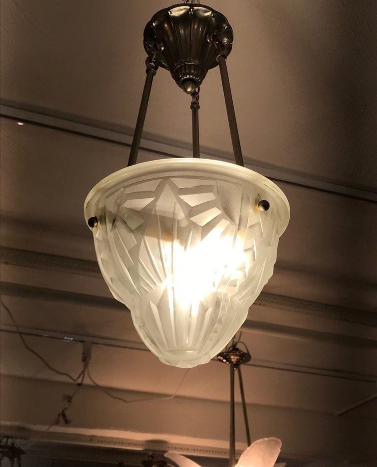 French Art Deco Pendant Chandelier Signed by Degue For Sale 2