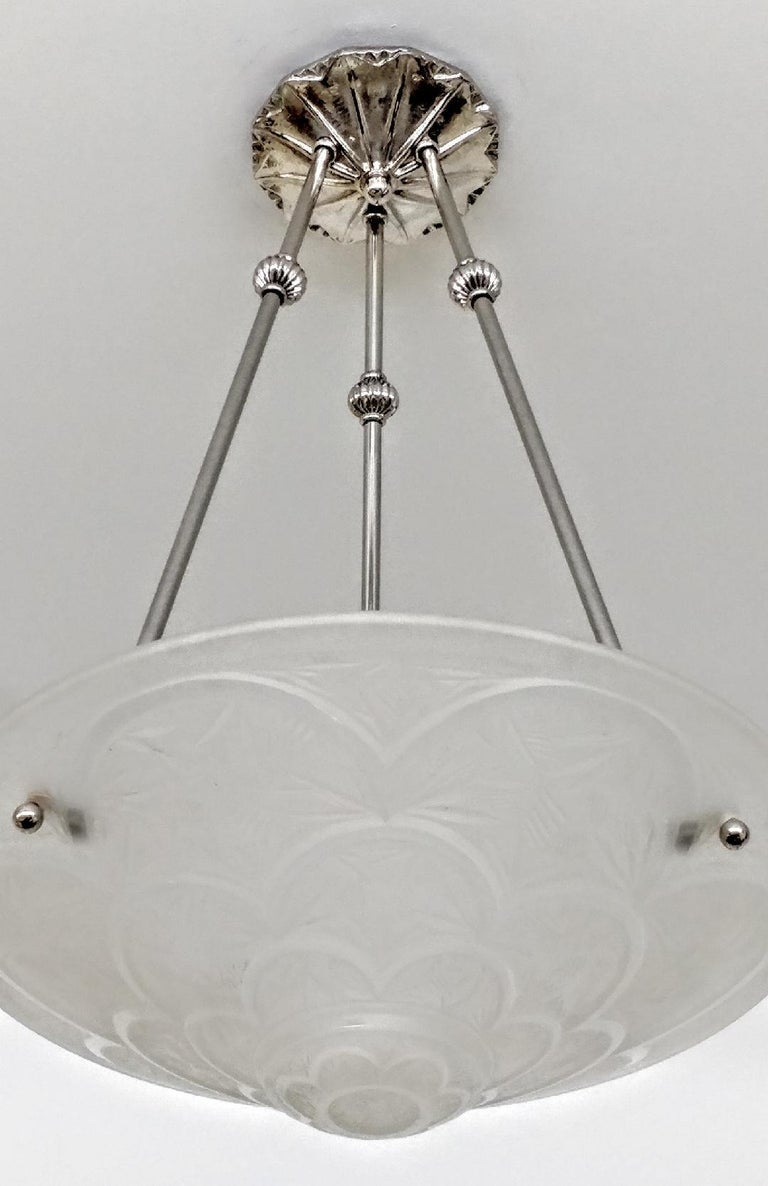 French Art Deco Pendant Chandelier Singed Hanots In Good Condition For Sale In Bronx, NY