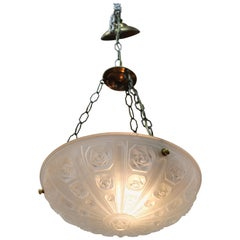 French Art Deco Pendant with Floral Relief Themed Frosted Glass Bowl
