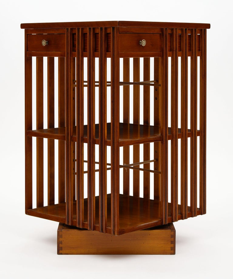 French Art Deco Period Revolving Bookcase In Good Condition For Sale In Austin, TX