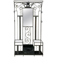 French Art Deco Period Wrought Iron Hall Tree
