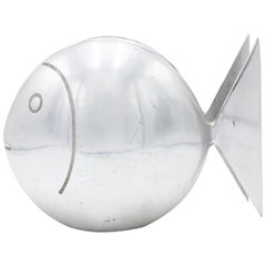 French Art Deco Pewter Fish Table Lamp
