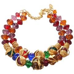 French Art Deco Philippe Ferrandis Gilt Colorful Necklace Paris