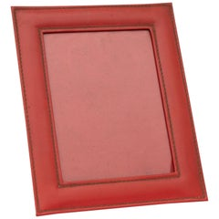 French Art Deco Photo Frame in an Italian Red Leather