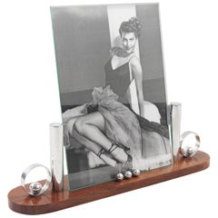French Art Deco Picture Photo Frame Rosewood and Chrome