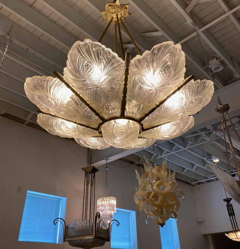 French Art Deco Pine Cone Chandelier Signed by Sabino For Sale 6