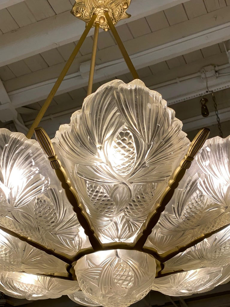 French Art Deco Pine Cone Chandelier Signed by Sabino For Sale 8