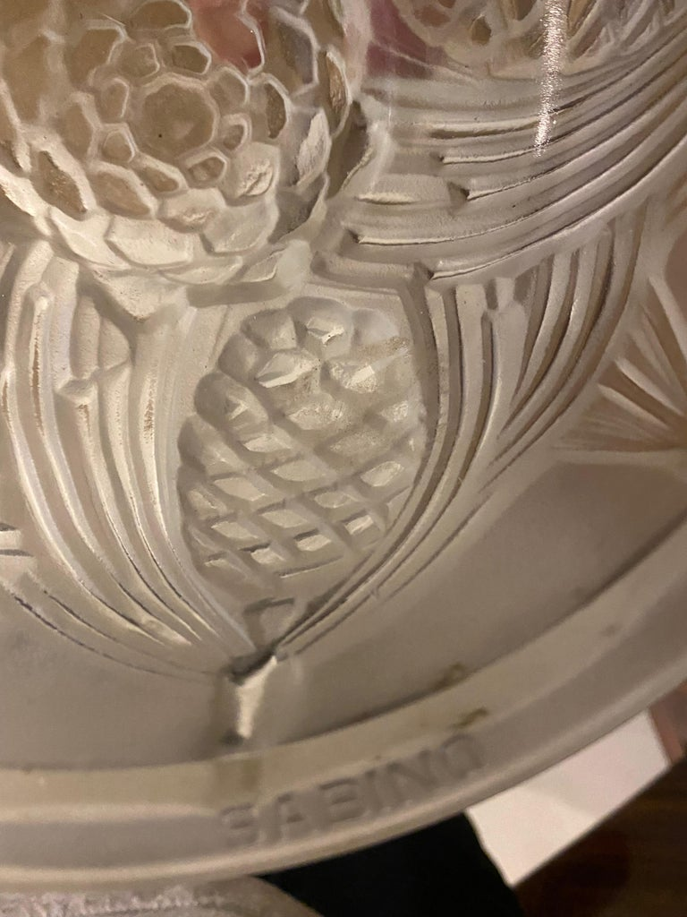 French Art Deco Pine Cone Chandelier Signed by Sabino For Sale 12