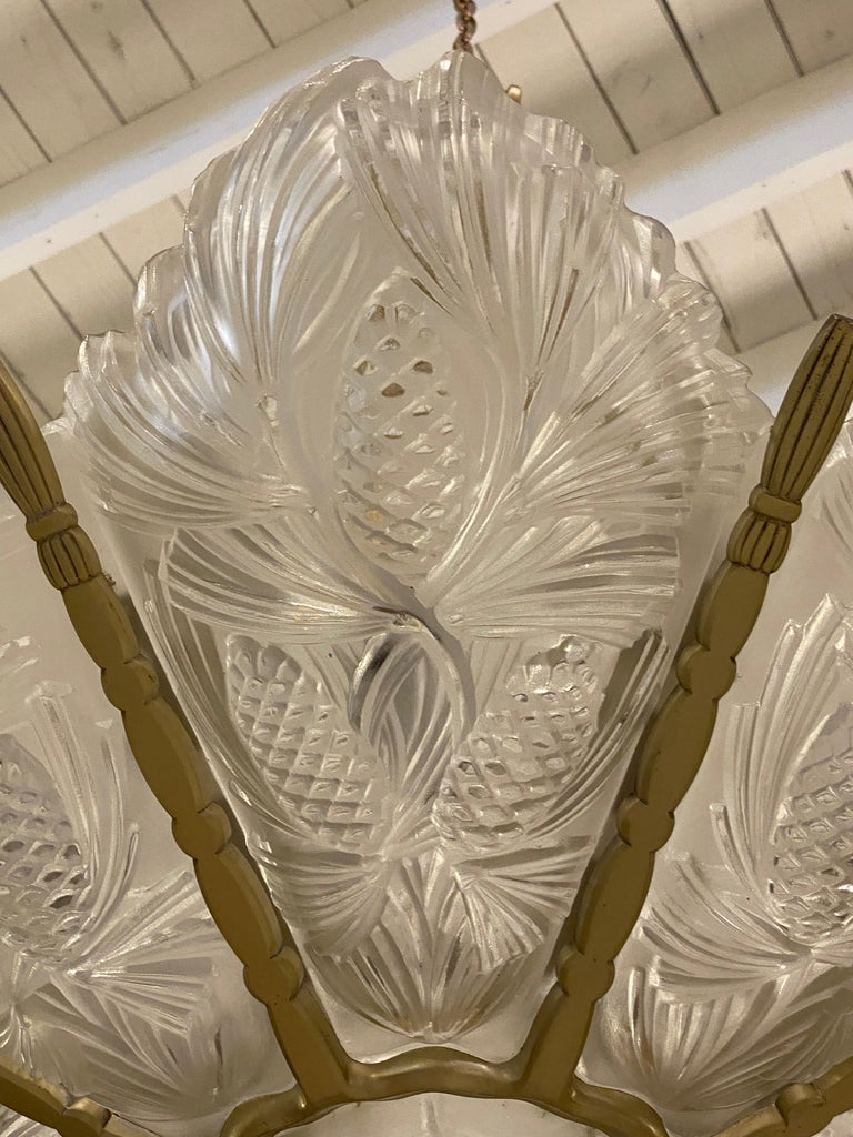 Mid-20th Century French Art Deco Pine Cone Chandelier Signed by Sabino For Sale