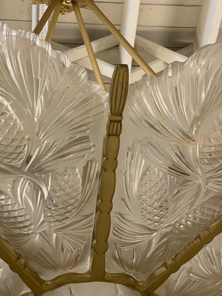 Brass French Art Deco Pine Cone Chandelier Signed by Sabino For Sale