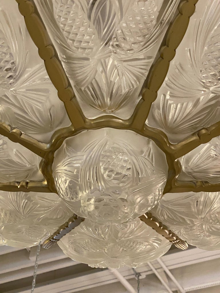 French Art Deco Pine Cone Chandelier Signed by Sabino For Sale 2