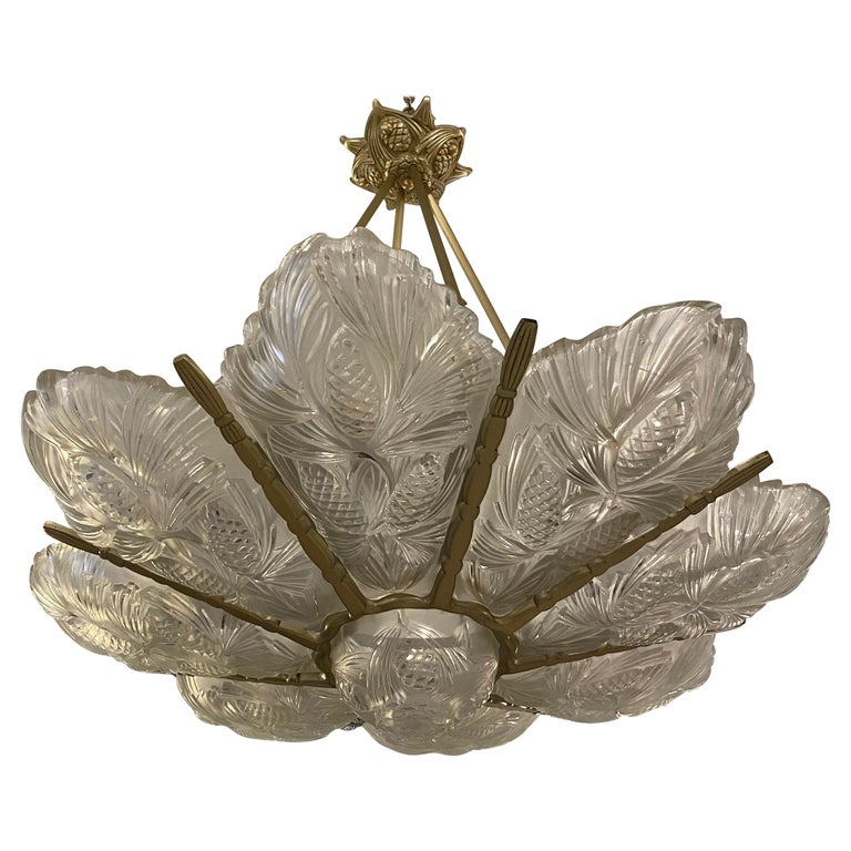 French Art Deco Pine Cone Chandelier Signed by Sabino For Sale