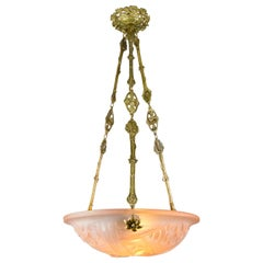 French Art Deco Pink Glass and Bronze Pendant Chandelier Signed Degue, 1920s