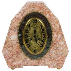 French Art Deco Pink Marble Mantel Clock