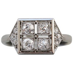 French Art Deco Platinum and Diamond Square Ring