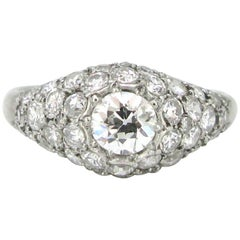 French Art Deco Platinum Pavé Diamonds Engagement Wedding Ring