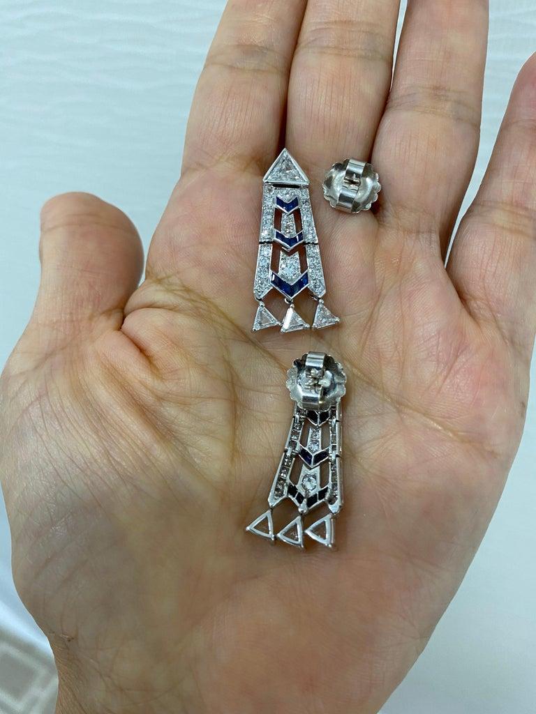 Women's or Men's French Art Deco Style Platinum Diamond Sapphire Dangling Earrings For Sale