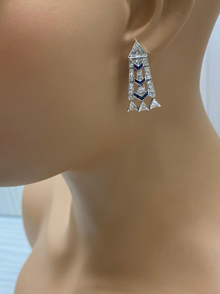 French Art Deco Style Platinum Diamond Sapphire Dangling Earrings For Sale 1