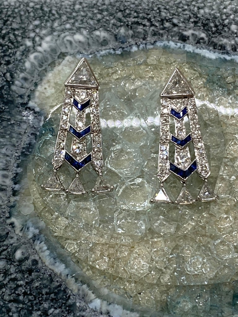 French Art Deco Style Platinum Diamond Sapphire Dangling Earrings For Sale 2
