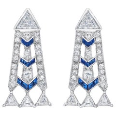 French Art Deco Style Platinum Diamond Sapphire Dangling Earrings