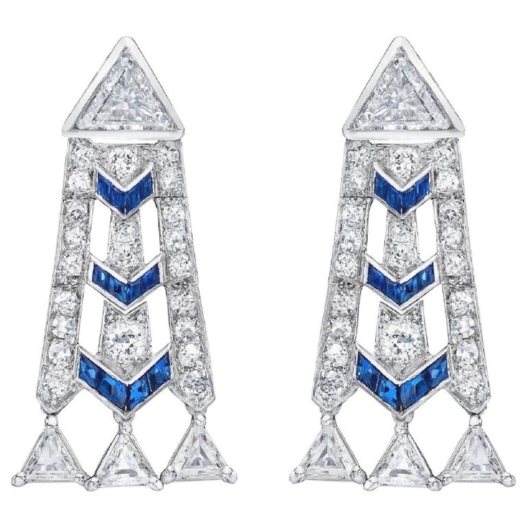 French Art Deco Style Platinum Diamond Sapphire Dangling Earrings For Sale