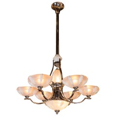 French Art Deco Polished Chrome and Frosted Glass Six-Arm Chandelier by Sabino