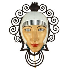 French Art Deco Porcelain Mask Sconce