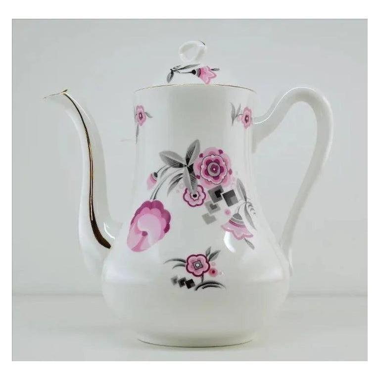 French Art Deco Porcelain Tea or Chocolate Set, Bernardaud & Baranger-Reboisson In Good Condition For Sale In Saint-Amans-des-Cots, FR