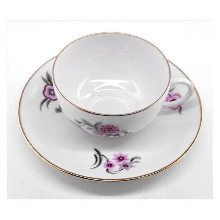 Mid-20th Century French Art Deco Porcelain Tea or Chocolate Set, Bernardaud & Baranger-Reboisson For Sale