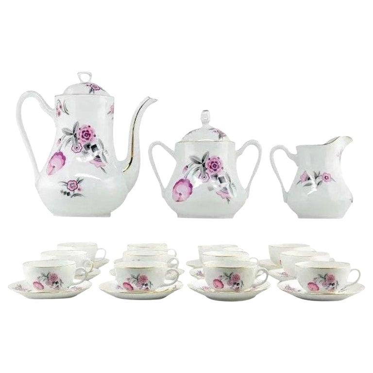 French Art Deco Porcelain Tea or Chocolate Set, Bernardaud & Baranger-Reboisson For Sale