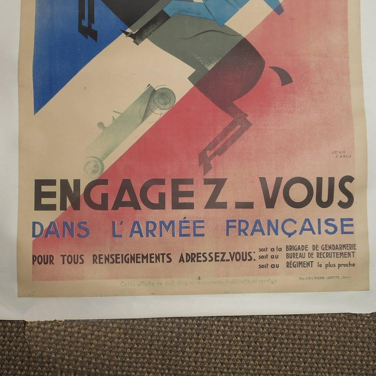 "Laminated French Art Deco Poster by Jean Carlu ""Engagez-Vous"" For Sale"