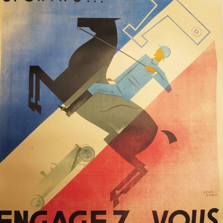 "French Art Deco Poster by Jean Carlu ""Engagez-Vous"" In Good Condition For Sale In Los Angeles, CA"