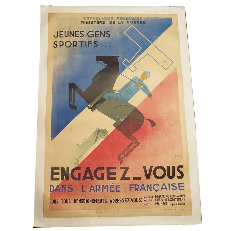 "French Art Deco Poster by Jean Carlu ""Engagez-Vous"" For Sale"