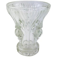 French Art Deco Pressed Clear Glass Vase