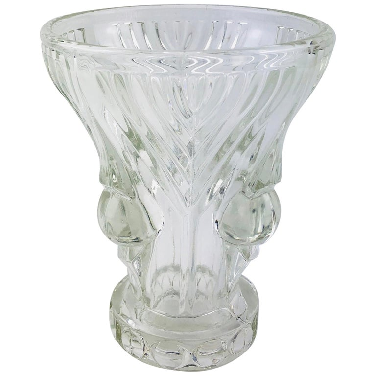 French Art Deco Pressed Clear Glass Vase For Sale
