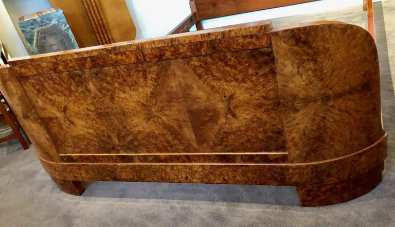 French Art Deco Queen Size Bed European Burl Walnut In Good Condition For Sale In Oakland, CA