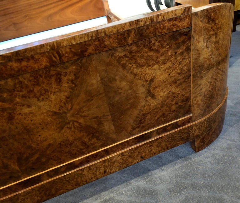 Mid-20th Century French Art Deco Queen Size Bed European Burl Walnut For Sale
