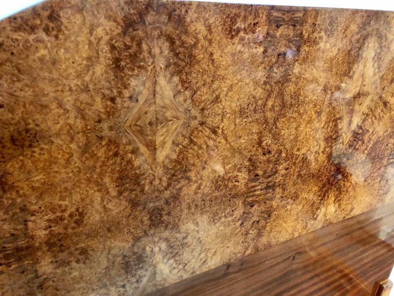 French Art Deco Queen Size Bed European Burl Walnut For Sale 3