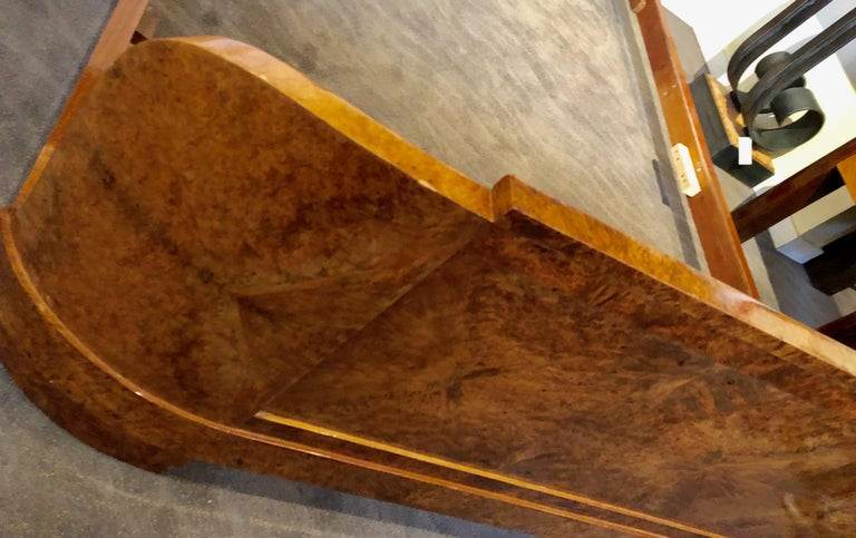 French Art Deco Queen Size Bed European Burl Walnut For Sale 4