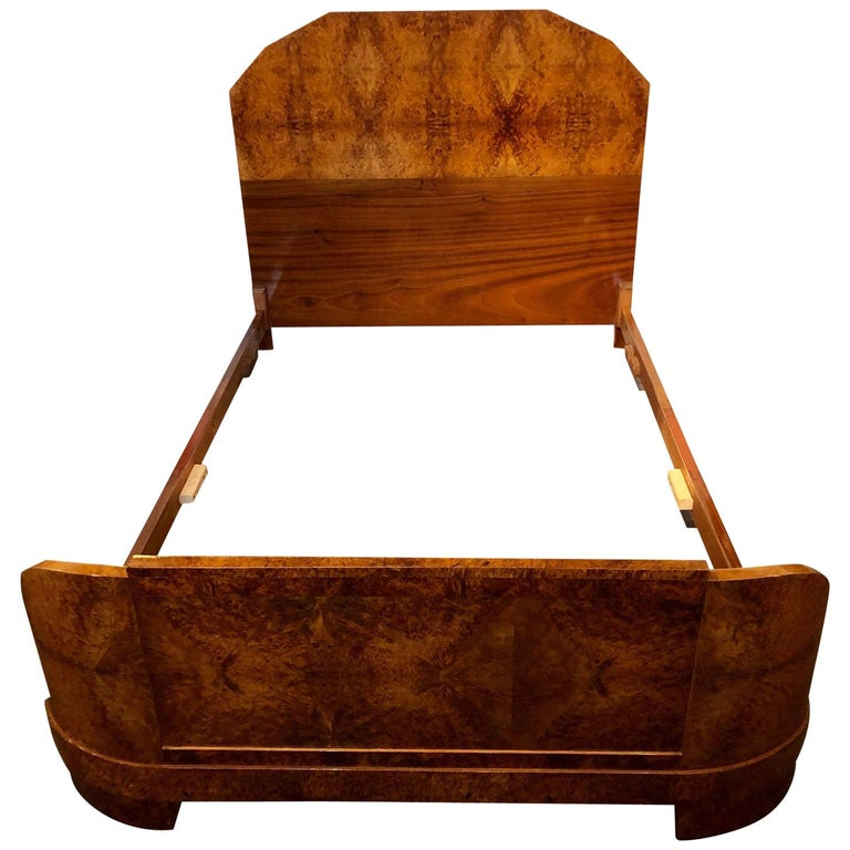 French Art Deco Queen Size Bed European Burl Walnut For Sale