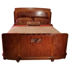 French Art Deco Queen Size Inlaid Thuya Wood Bed, Attributed to Maurice Dufrène