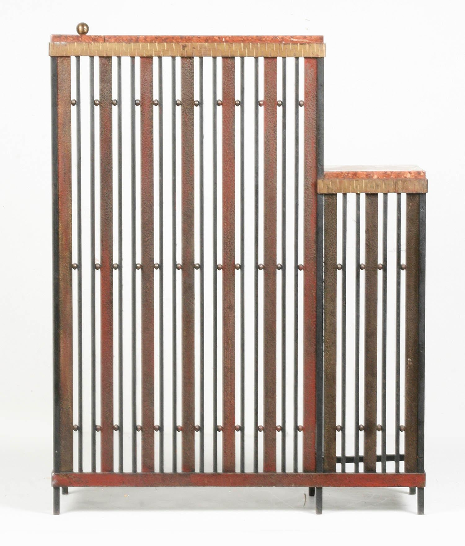 French Art Deco Radiator Cover Wrought Iron With Rouge De Verone Marble At 1stdibs