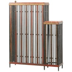 French Art Deco Radiator Cover, Wrought Iron with 'Rouge de Vérone' Marble