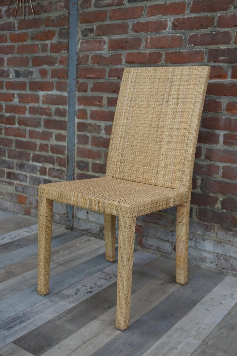 French Art Deco Rattan Chairs Design Jean-Michel Frank for Ecart International For Sale 1