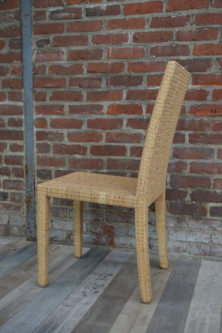 French Art Deco Rattan Chairs Design Jean-Michel Frank for Ecart International For Sale 2
